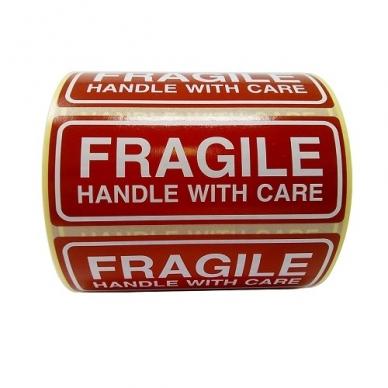Etiketės FRAGILE handle with care 1000 vnt/rul